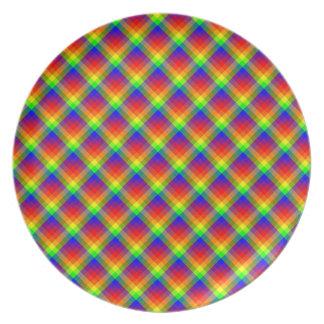 Rainbow Plaid Melamine Plate