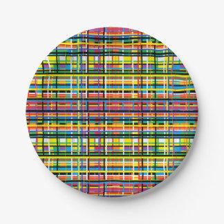 rainbow plaid paper plate
