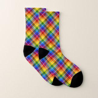 Rainbow Plaid Socks