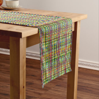 rainbow plaid table runner