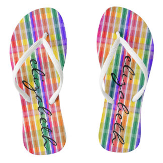 Rainbow Plaid Thongs