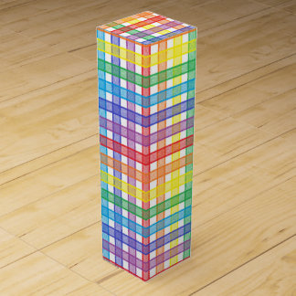 Rainbow Plaid Wine Gift Box