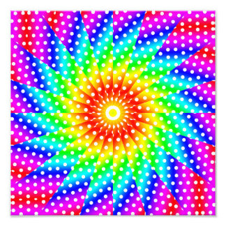 Rainbow Polka Dot Kaleidoscope Mandala Art Photo