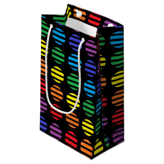 Rainbow Polka Dots and Stripes Black Small Gift Bag