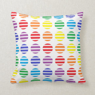 Rainbow Polka Dots and Stripes Throw Pillow