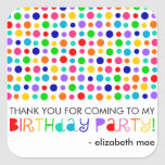 Rainbow Polka Dots Birthday Party Favour Stickers