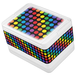 Rainbow Polka Dots Black Cooler