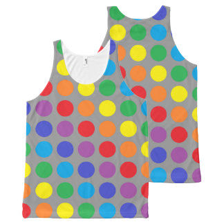 Rainbow Polka Dots Charcoal All-Over Print Singlet