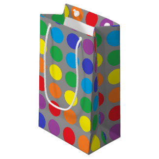 Rainbow Polka Dots Charcoal Small Gift Bag