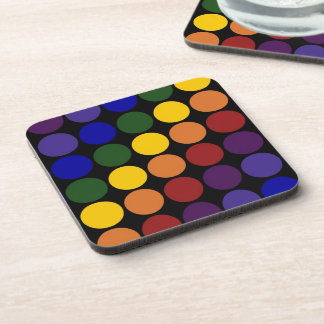 Rainbow Polka Dots on Black Beverage Coaster