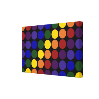 Rainbow Polka Dots on Black Stretched Canvas Print