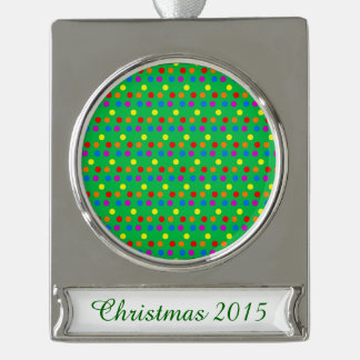 Rainbow Polka Dots on Bright Green Silver Plated Banner Ornament