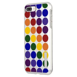 Rainbow Polka Dots on Silver Incipio DualPro Shine iPhone 8 Plus/7 Plus Case