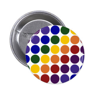 Rainbow Polka Dots on White Buttons