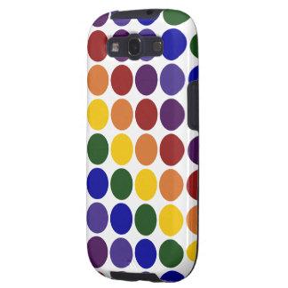 Rainbow Polka Dots on White Galaxy SIII Covers