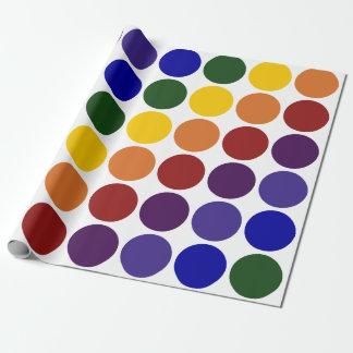 Rainbow Polka Dots on White gift wrap