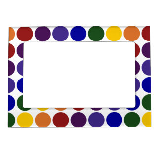 Rainbow Polka Dots on White Magnetic Photo Frame
