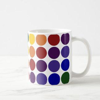 Rainbow Polka Dots on White Coffee Mug