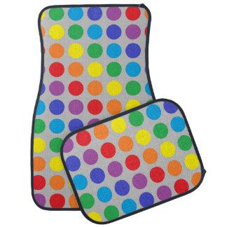 Rainbow Polka Dots Silver Car Mat