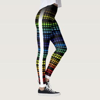 Rainbow Polkadot on Black Choose Your own Color Leggings