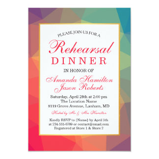 Rainbow Polygonal Geometric Rehearsal dinner Card