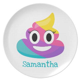 Rainbow Poop Emoji Plate
