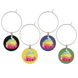 Rainbow Poop Emojis Wine Charms