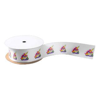 Rainbow Poop Unicorn Emoji Ribbon (white) Satin Ribbon