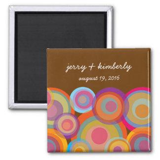 Rainbow Pop Circles Save Date Magnet