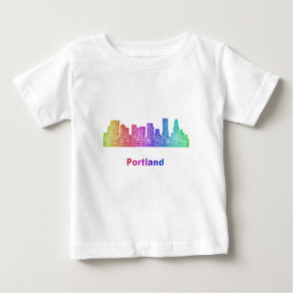 Rainbow Portland skyline Baby T-Shirt