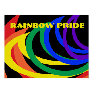 Rainbow Pride Abstract Crescents Poster