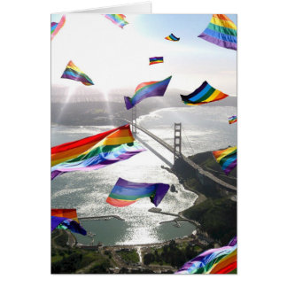 """""""Rainbow Pride Flags Invade the Marin Headlands"""" Greeting Card"""