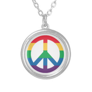 Rainbow Pride Peace Sign Necklace