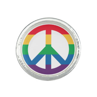 Rainbow Pride Peace Sign Ring