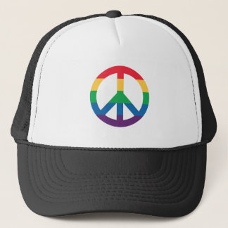 Rainbow Pride Peace Sign Trucker Hat
