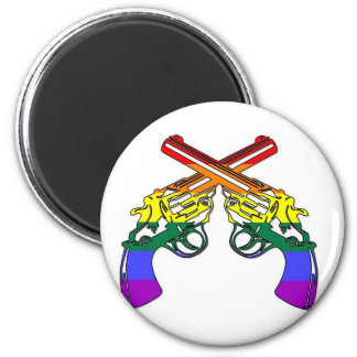 Rainbow Pride Pistols 6 Cm Round Magnet