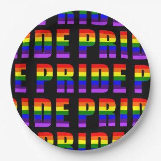 Rainbow Pride Text Art on Custom Black Color Paper Plate