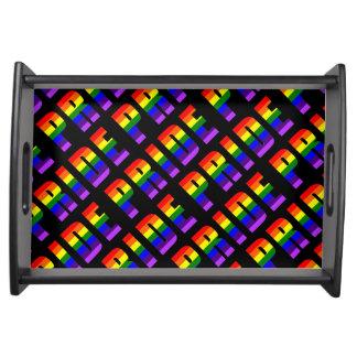 Rainbow Pride Text Art on Custom Black Color Serving Tray