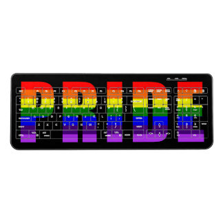 Rainbow Pride Text Gay Art on Custom Color Wireless Keyboard