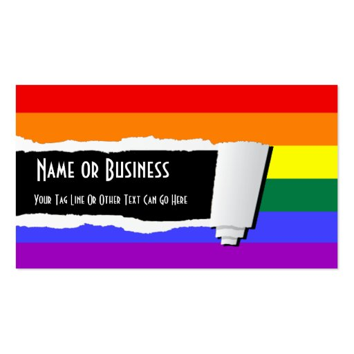 Rainbow Pride Torn Paper (Effect) Business Card Template