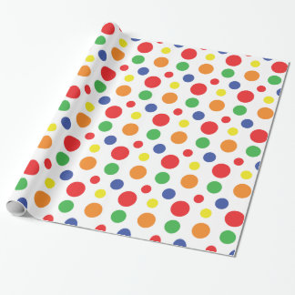 Rainbow Primary Polka Dots Pattern Wrapping Paper