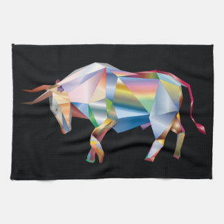 Rainbow Prism Taurus Bull Tea Towel