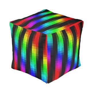 Rainbow Psychedelic Mosaic Pattern, Cube Pouffe Pouf