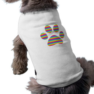 rainbow puppy paw print sleeveless dog shirt