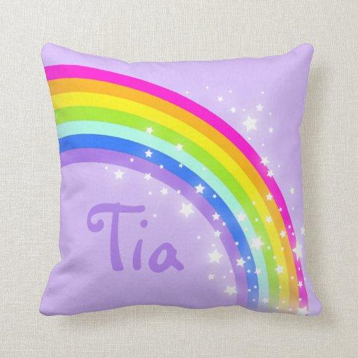 rainbow purple - girls name short pillow