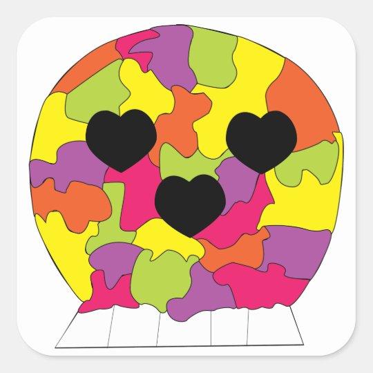 Rainbow Puzzle Pieces Skull Hearts Square Sticker