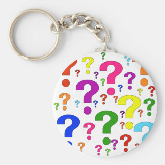 Rainbow Question Marks Basic Round Button Key Ring