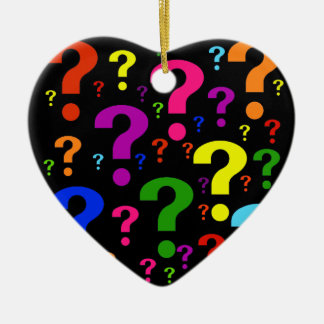 Rainbow Question Marks Ceramic Heart Decoration