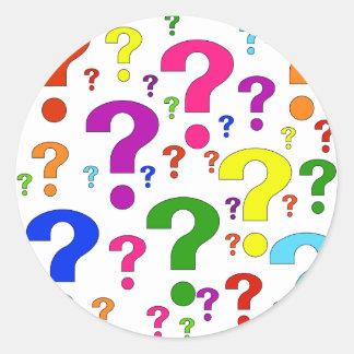 Rainbow Question Marks Round Sticker
