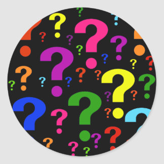 Rainbow Question Marks Round Sticker